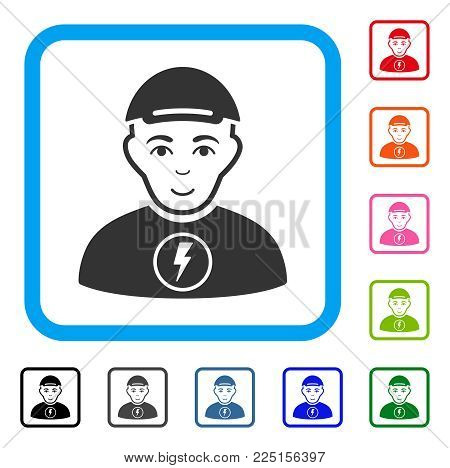 Cheerful Power Boy vector icon. Human face has glad emotion. Black, gray, green, blue, red, pink color additional versions of power boy symbol inside a rounded frame. A guy with a cap.