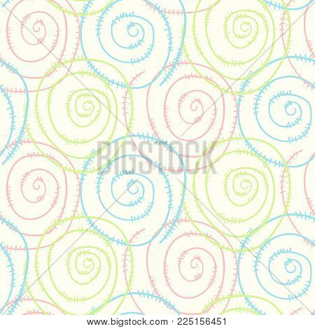 Pastel light kids seamless pattern with hand drawn round swirl wire spirals. Abstract tender texture with round spiral elements for background, textile, wrapping paper, cover, surface, wallpaper