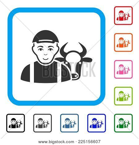 Joyful Cow Farmer vector icon. Human face has joy feeling. Black, grey, green, blue, red, pink color versions of cow farmer symbol in a rounded rectangular frame. A boy in a cap.