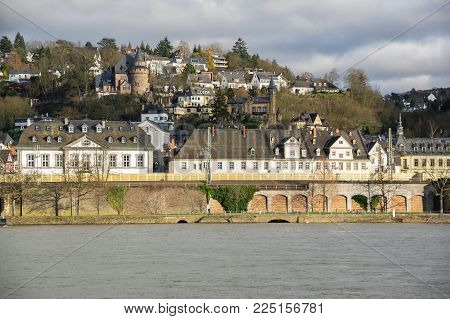 Embankment of Koblenz, a city situated on both banks of the Rhine at its confluence with the Moselle, Germany