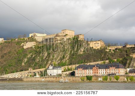 Fortress Ehrenbreitstein as seen from Koblenz, a city situated on both banks of the Rhine at its confluence with the Moselle, Germany