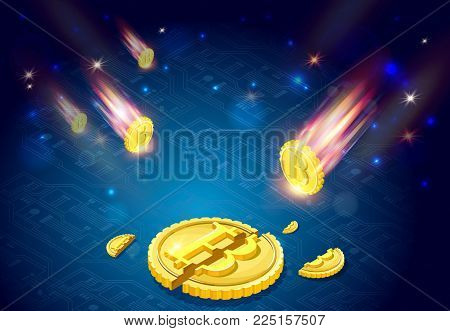 Bitcoins falls, 3d isometric vector illustration with ryptocurrency symbol falling from space like comet, light splashes, stars, beautiful concept of financial failure