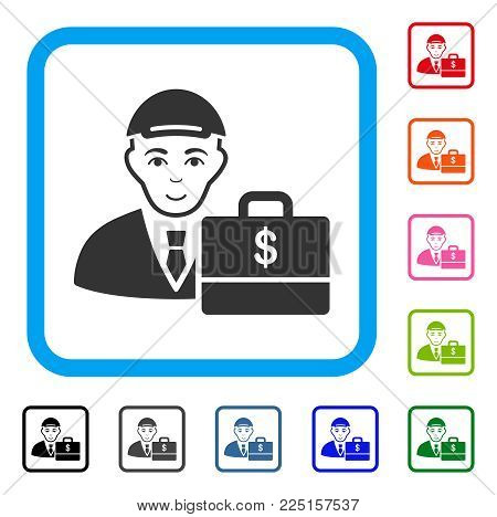 Enjoy Dollar Accounter vector pictograph. Human face has positive mood. Black, gray, green, blue, red, pink color versions of dollar accounter symbol inside a rounded squared frame.