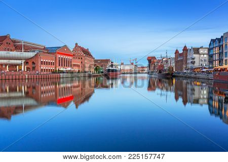 Architecture of the old town in Gdansk over Motlawa river, Poland