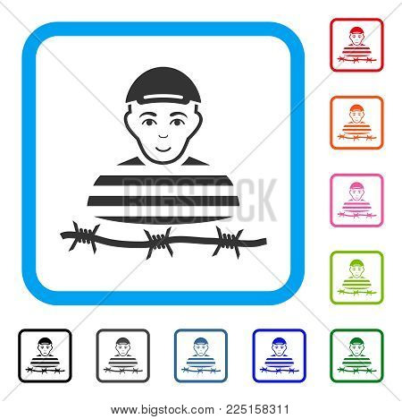 Happy Camp Prisoner vector pictogram. Human face has happy emotions. Black, gray, green, blue, red, orange color variants of camp prisoner symbol in a rounded square. A person in a cap.