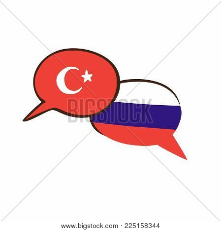 Vector illustration with two hand drawn doodle speech bubbles with national flags of Turkey . Modern design for foreign language course, classes, school or translation agency.