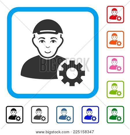 Glad User Options Gear vector icon. Person face has glad feeling. Black, grey, green, blue, red, orange color versions of user options gear symbol in a rounded frame. A person in a cap.