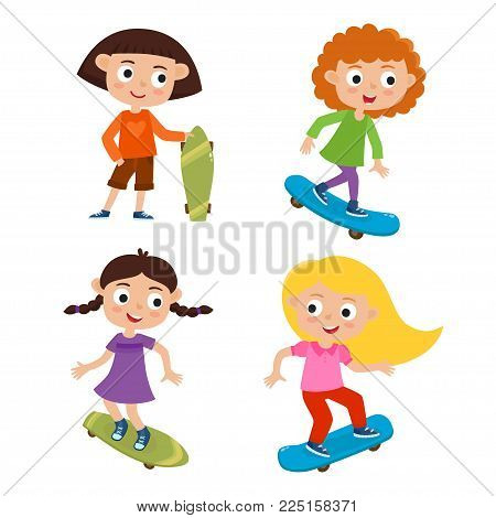 Summer activity skateboarding concept. Vector set of skateboarder girls stand with skateboard in cartoon style isolated on white background. Summer break, girls having free time. Happy child.