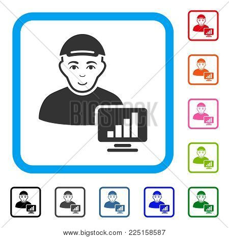 Enjoy Online Trader vector icon. Human face has glad emotion. Black, gray, green, blue, red, pink color variants of online trader symbol inside a rounded square. A boy with a cap.