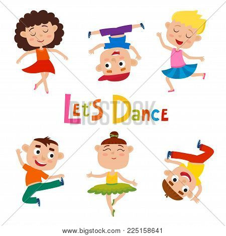 Vector cartoon illustration of little graceful girls-dancer and happy hipster boys isolated on white. Set of little happy kids dancing and smiling. Modern dance, ballet performed by children.
