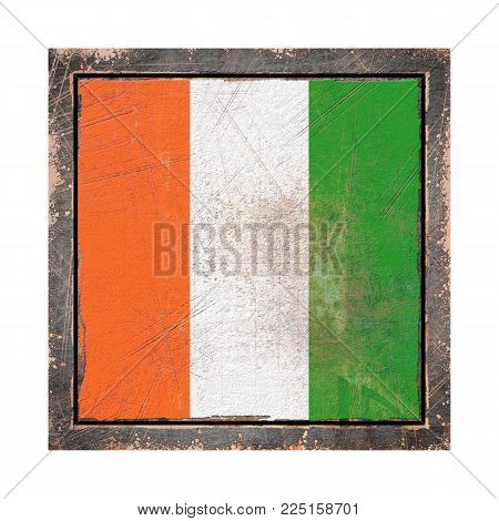 3d Rendering Of An Ivory Coast Flag Over A Rusty Metallic Plate Wit A Rusty Frame. Isolated On White