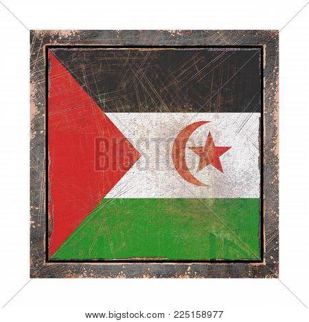 3d Rendering Of A Sahrawi Arab Democratic Republic Flag Over A Rusty Metallic Plate Wit A Rusty Fram