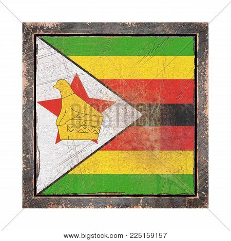 3d Rendering Of A Republic Of Zimbabwe Flag Over A Rusty Metallic Plate Wit A Rusty Frame. Isolated