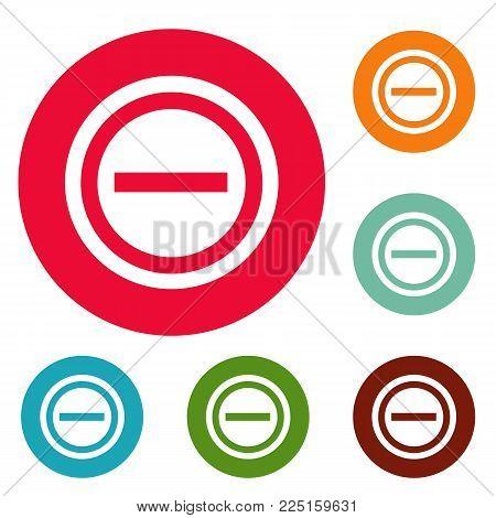 Minus icons circle set vector isolated on white background