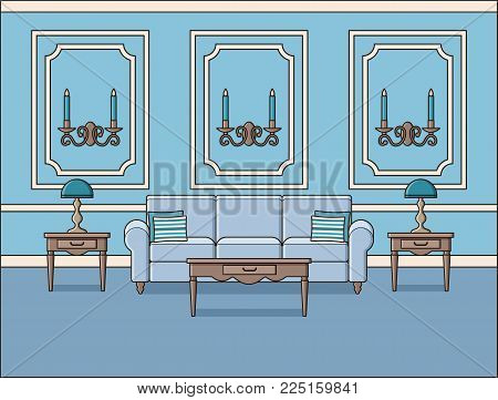 Living room interior. Vector. Room with sofa in classic style. Outline background in blue. Home space, furniture in line art. Cartoon house in pastel colors. Linear illustration. Parlor in flat design