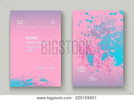 Pastel Pink Cyan Explosion Paint Splatter Artistic Cover Design. Fluid Gradient Dust Splash Texture