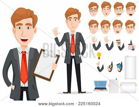 Business man with blond hair, cartoon character creation set. Young handsome smiling businessman in smart casual clothes. Build your personal design - stock vector