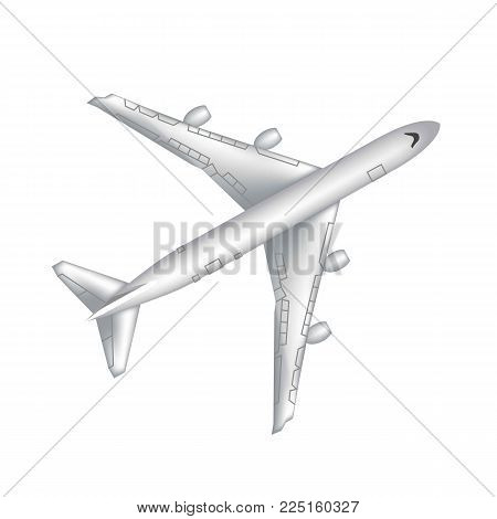 Flying airplane, jet aircraft, airliner. Top view of detailed realistic passenger air plane isolated on transparent background. Vector illustration.