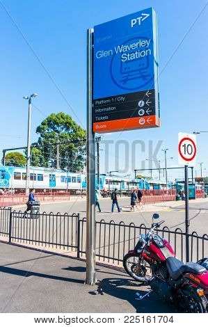 Melbourne, Australia - April 3, 2015: Glen Waverley Station is a Melbourne Metro station at the end of the Glen Waverley suburban train line. It is also a bus interchange.