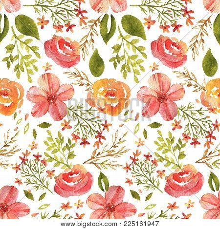 Hand-drawn watercolor floral seamless pattern with the spring flowers on the white background. Natural and vibrant repeated print for textile, wallpaper. Spring flowers