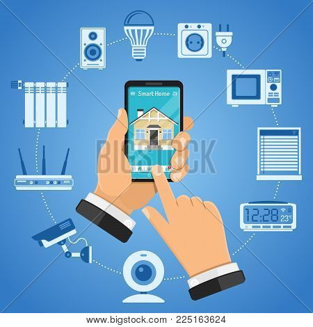 Smart Home and internet of things concept with flat icons. Man holding smartphone in hand and controls smart home devices like security camera, router, lightbulb. Isolated vector illustration
