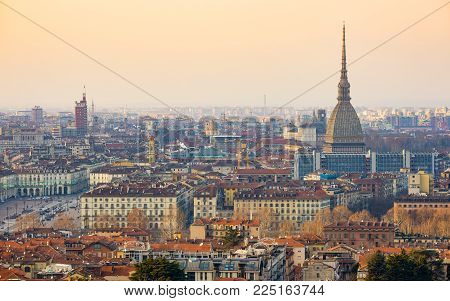 Turin Cityscape, Torino, Italy At Sunset, Panorama With The Mole Antonelliana Over The City. Scenic