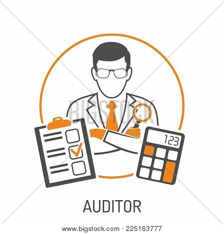 Auditing, Tax, Accounting Concept. Auditor Holds Magnifying Glass in Hand. Flat style two color icons financial report and calculator. Isolated vector illustration
