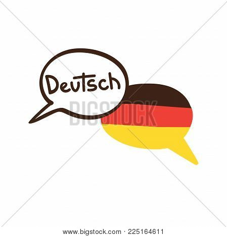 Vector Illustration With Two Hand Drawn Doodle Speech Bubbles With A National Flag Of Germany And Ha
