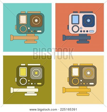 assembly of flat icon multimedia technology camcorder