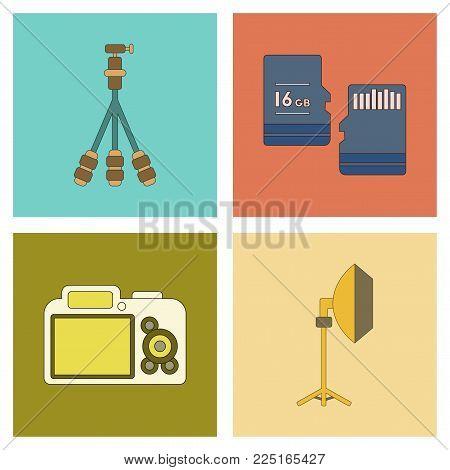assembly of flat icon technology photo camera professional lighting tripod micro SD