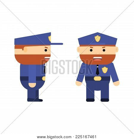 Police officer in cartoon style. Vector flat policeman. Character for game. Man in two projections. Ginger hair. Illustration isolated on white background.