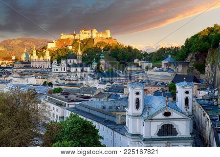 Classic view of the historic city of Salzburg with Salzburg Cathedral and famous Festung Hohensalzburg, Salzburger Land, Austria