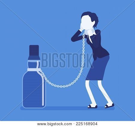 Woman with bottle in alcohol dependency. Young frustrated person with addiction to alcoholic drink, tied to beverage, unhealthy dangerous abuse and habit. Vector illustration with faceless characters