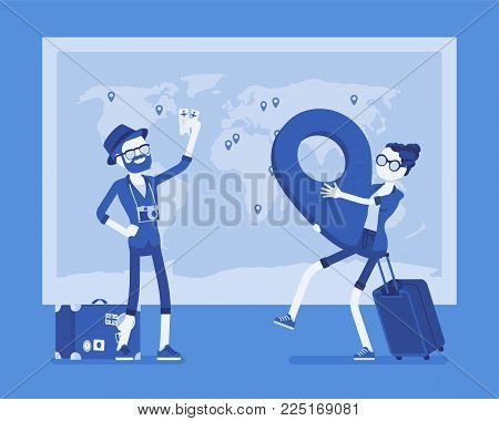 Travel planning at map. Man and woman marking vacation guidance and arrangements with point, dreaming of future journey together, leaving for holiday. Vector illustration with faceless characters