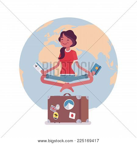 Young woman waiting for vacation. Female tourist hovering in air in easy pose dreaming of long desired rest, holiday wish come true. Vector flat style cartoon illustration isolated on white background