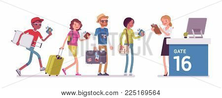 Air flight check queue. Airport check-in passengers standing in line before travel, airline agent checking ticket documents at gate. Vector flat style cartoon illustration isolated on white background