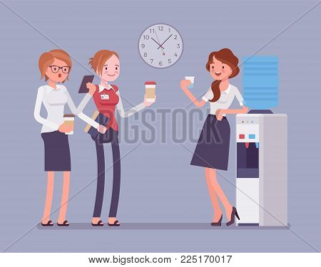 Office cooler chat. Young female workers having informal conversation around a watercooler at workplace, colleagues refreshing during a break. Vector business concept flat style cartoon illustration