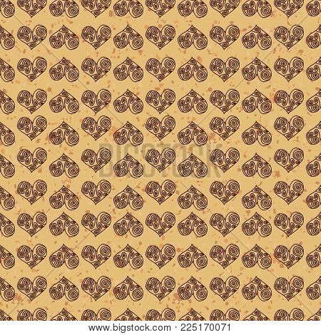 Seamless pattern background. Brown hearts on a gold ground. Fondness wallpaper. Symbol of love in Greek style.
