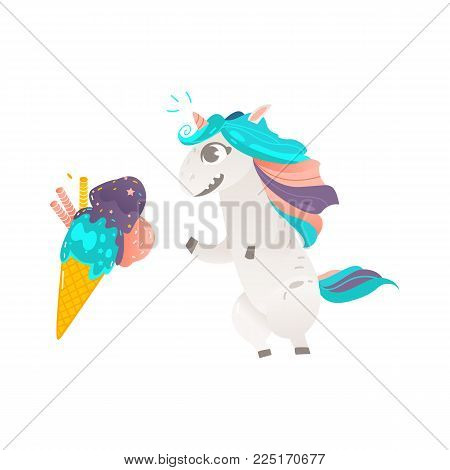 Funny unicorn character eager, wanting to eat an ice cream cone, flat cartoon vector illustration isolated on white background. Portrait of unicorn character with rainbow mane and giant ice cream cone