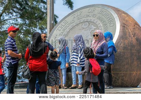 Kudat,Sabah,Malaysia-Feb 3,2018:Group of tourist visit the Tip of Borneo in Kudat,Sabah.Its located in Kudat district & one of the most popular attractions in Sabah.