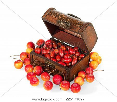 Wooden box filled with berries of wild rose, next to scattered small apples isolated on white background