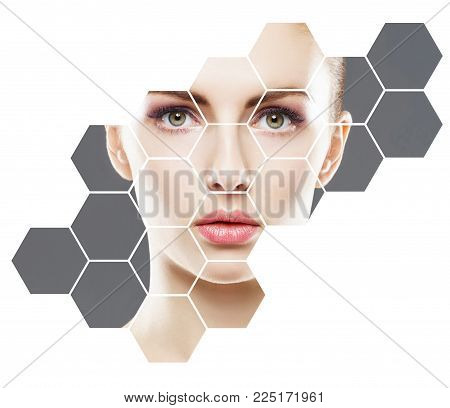 Facial portrait of young and healthy girl. Plastic surgery, skin care, cosmetics and face lifting concept.
