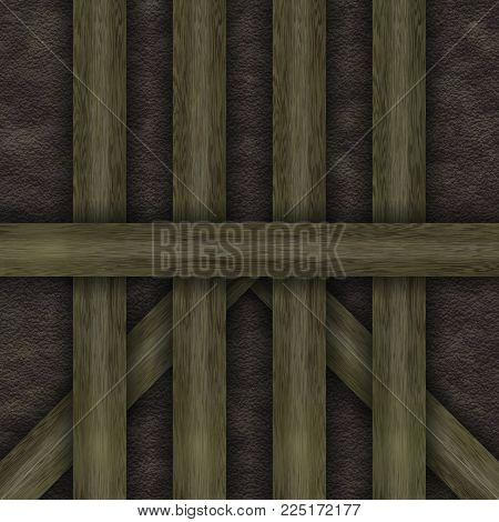 Wall abstract- wooden frame chalet construction elements, struts, stone. Decoration facade- panels of various shapes.