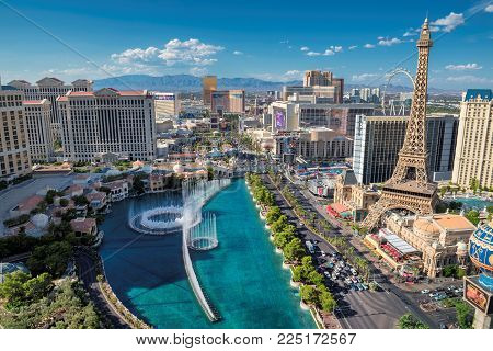 Aerial view of Las Vegas Strip skyline at sunny day on July 25, 2017 in Las Vegas, Nevada. The Strip is home to the largest hotels and casinos in the world.