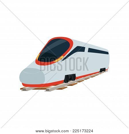 Speed modern super streamlined high speed railway train locomotive, passenger waggon vector Illustration on a white background