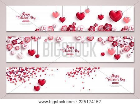 Happy Valentine's Day horizontal banners set. Vector illustration. Holiday bright greeting cards, love creative concept, gift voucher, invitation. Place for your text. Valentine tree with hearts.