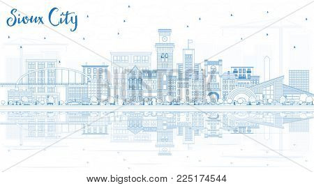 Outline Sioux City Iowa Skyline with Blue Buildings and Reflections. Business Travel and Tourism Illustration with Historic Architecture.