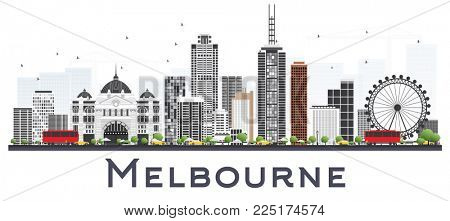 Melbourne Australia City Skyline with Gray Buildings Isolated on White Background. Business Travel and Tourism Concept with Modern Buildings. Melbourne Cityscape with Landmarks.