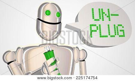 Unplug Robot Take Break Turn Off Electricity 3d Illustration