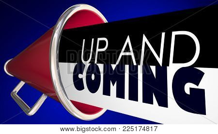 Up and Coming Next Big Thing Megaphone Bullhorn 3d Illustration